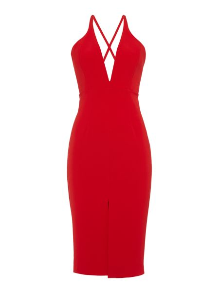Bardot Sleeveless V Neck Cross Over Back Bodycon Dress