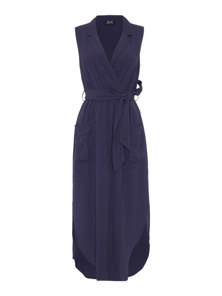Bardot Sleeveless Wrap Shirt Dress With Tie Waist