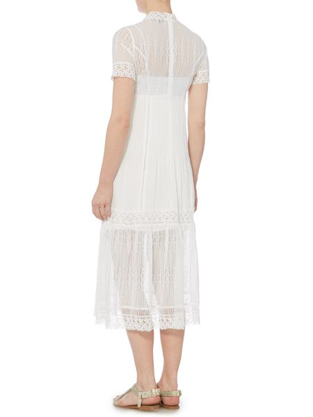 Bardot Short Sleeved High Neck Lace Maxi Dress