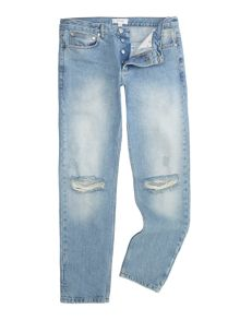 Soulland Erik vintage blue regular fit ripped knee jean