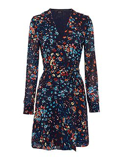 Bardot Long Sleeved Low Neck Floral Wrap Dress