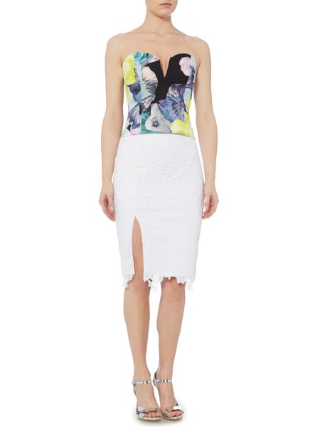 Bardot Lace Pencil Skirt with Side Split