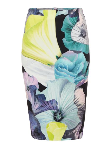 Bardot Floral Printed Bodycon Skirt with Split