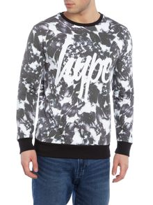 Hype Regular fit monotone floral print crew neck sweat
