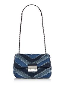 Michael Kors Sloan blue flap over chain shoulder bag