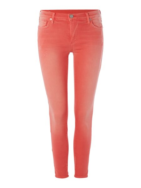 True Religion Halle mid rise crop skinny jean in pink