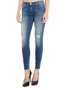 True Religion Halle cropped super skinny jean in broken blue
