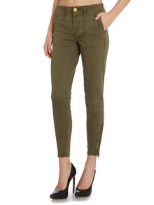 True Religion Halle military crop zip jeans