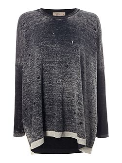 Distressed painted knit jumper
