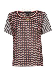 Maison Scotch Mixed print sheer top with necklace