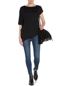 Label Lab Tie dye tassel burnout asymmetric tee