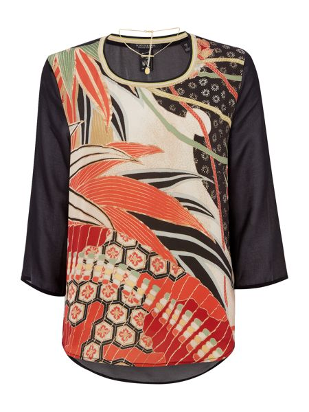 Maison Scotch Contrast print sheer back top with necklace