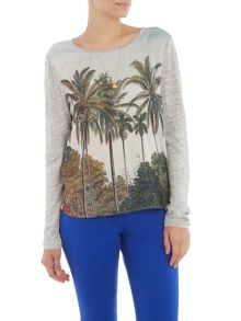Maison Scotch Linen photoprint top with necklace