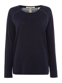 Maison Scotch Printed back long sleeve top with necklace