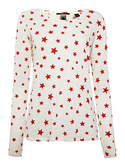 Long sleeve star print top with necklace