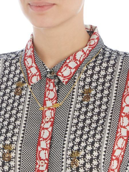 Maison Scotch Embellished print shirt with necklace