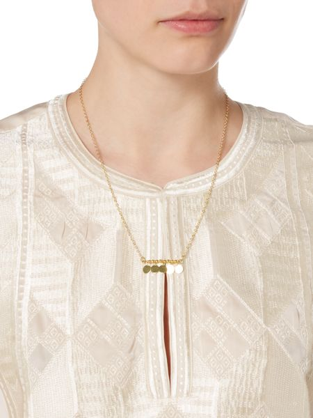 Maison Scotch Embroidered neck blouse with necklace