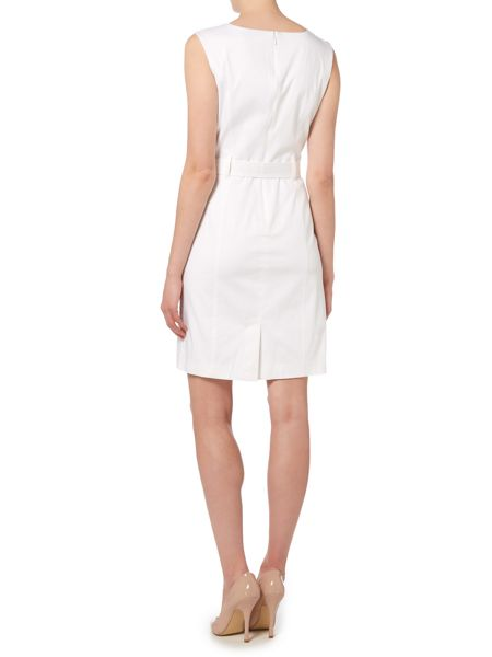 Ellen Tracy Boat neck dress with tie belt