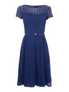 Ellen Tracy Broderie lace dress with belt