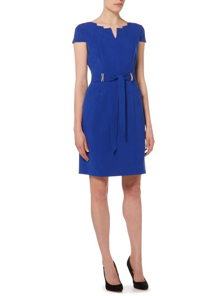 Ellen Tracy Cut out neck belted dress