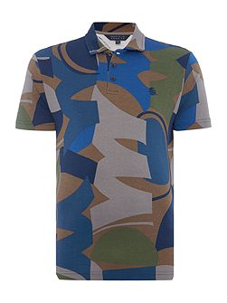 Camouflage Printed Short Sleeve Polo Shirt