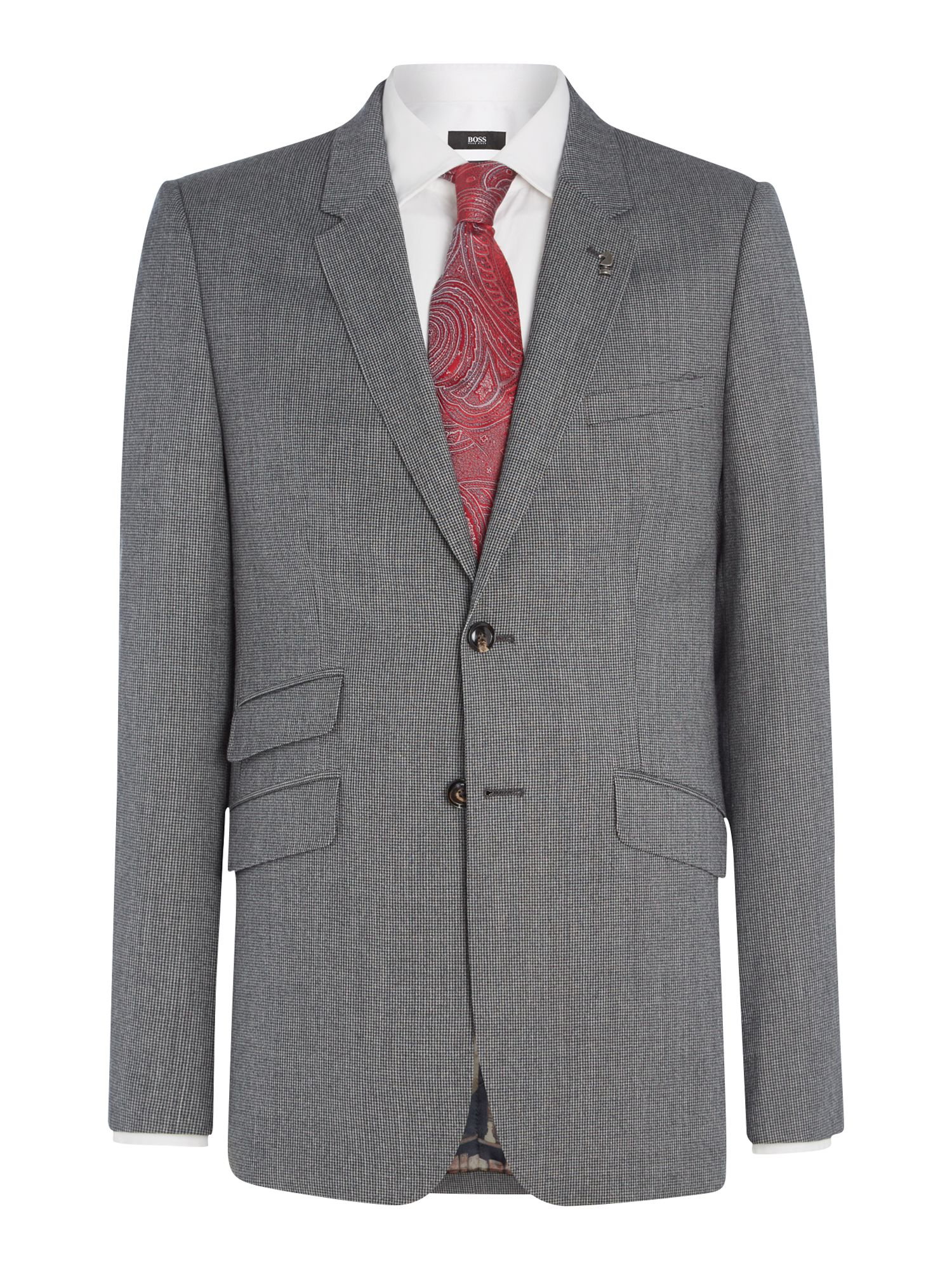 Mens Ted Baker Gather Textured Suit Jacket Grey