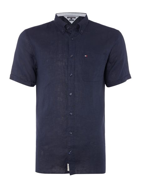 Tommy Hilfiger Solid Linen Short Sleeve Shirt