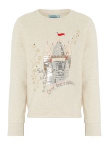 Little Dickins & Jones Girls Fairy castle sequinned sweater