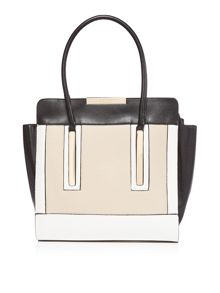 Lipsy Nude colour block tote bag