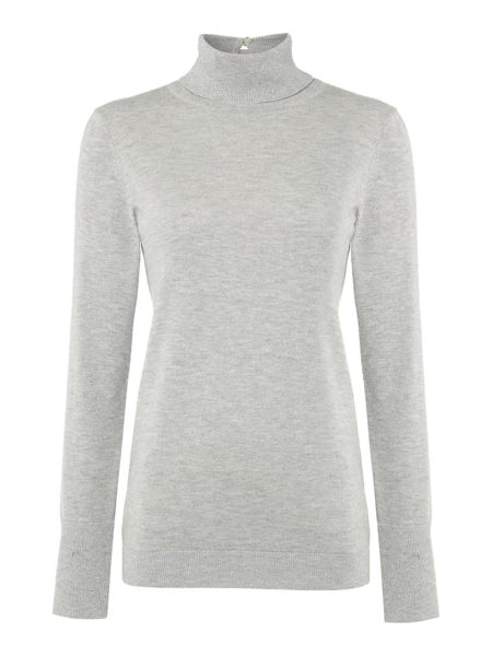 Biba Long sleeve button back metallic roll neck