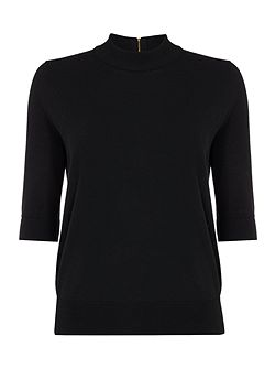 Short sleeve touch of cashmere turtle neck