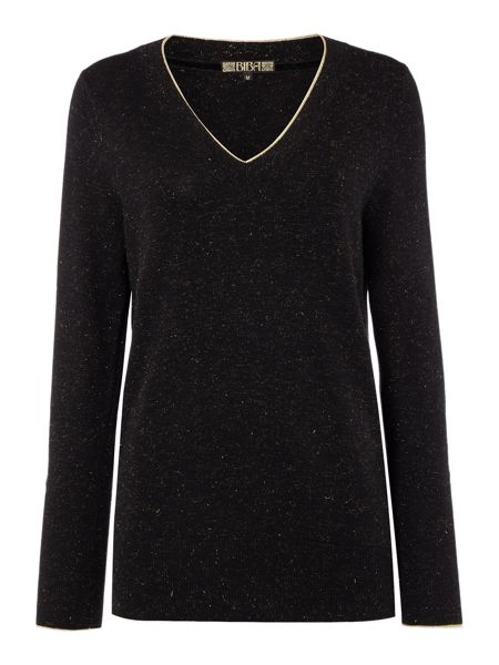 Biba V neck metallic detail jumper