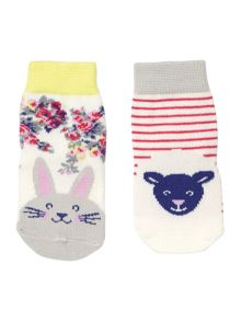 Joules Girls Dog and Cat 2 pack socks