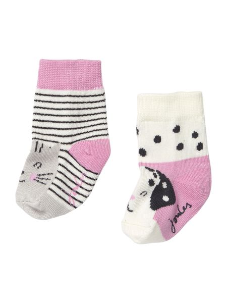 Joules Girls Hare and Sheep 2 pack socks