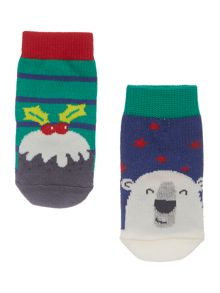 Joules Boys Polar bear and Pudding 2 pack socks