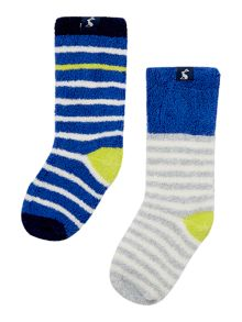 Joules Boys Soft terry stripe 2 pack socks
