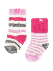 Joules Girls Soft terry stripe 2 pack socks