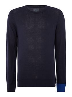 College Crew Neck Contrast Cuff Jumper