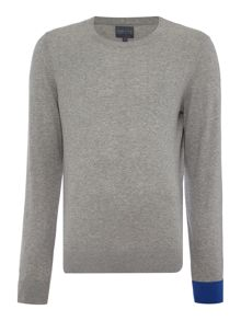 Perry Ellis America College Crew Neck Contrast Cuff Jumper