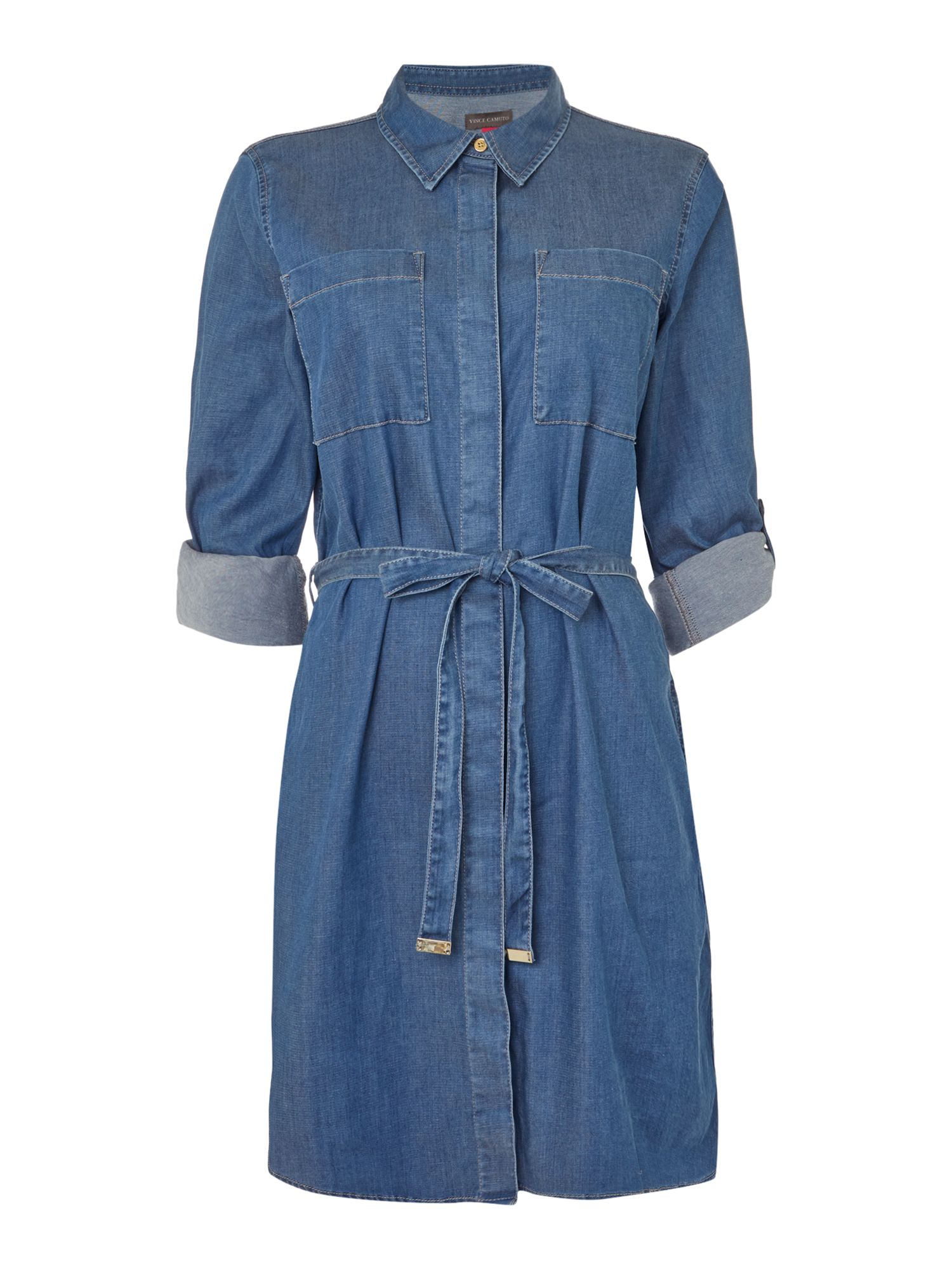 Vince Camuto Vince Camuto Belted denim dress, Denim