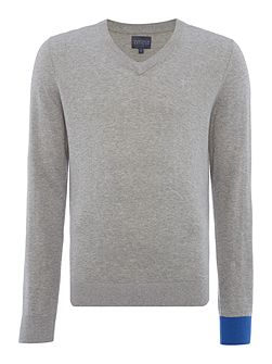 College V Neck Contrast Cuff Jumper