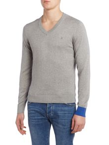 Perry Ellis America College V Neck Contrast Cuff Jumper