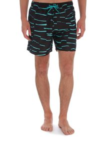 Boardies Mid length horizontal stripe swim shorts