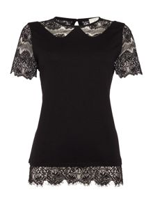 Linea Lace collar detail jersey top