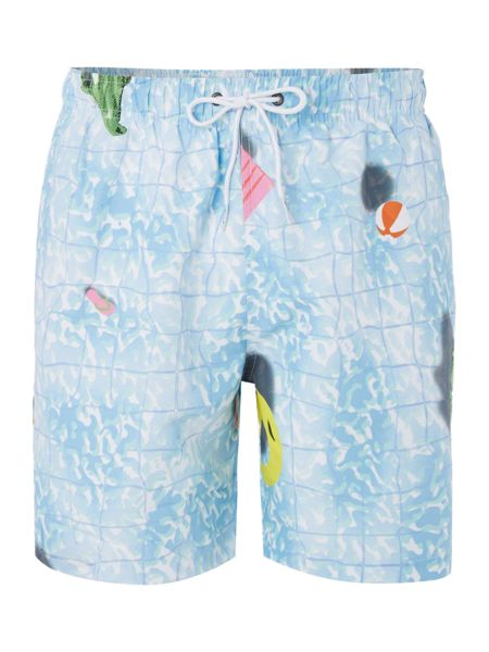 Boardies Mid length swimming pool aerial print swim shorts