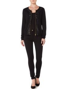 Biba Studded luxe zip up jumper