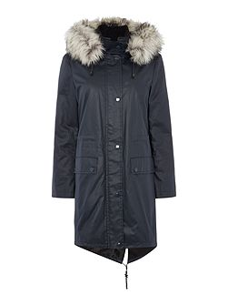 2 in 1 Parka with faux fur trim
