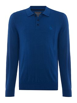 Knitted Button Down Long Sleeve Polo