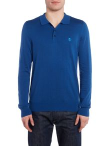 Perry Ellis America Knitted Button Down Long Sleeve Polo
