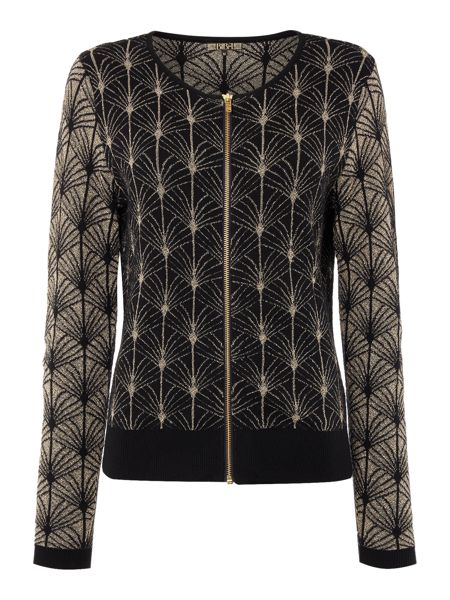 Biba Deco palm zip up jacquard jumper
